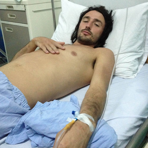 Andrew Ucles in hospital with Leptospirosis