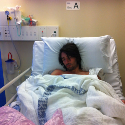 Andrew Ucles in hospital with Typhoid