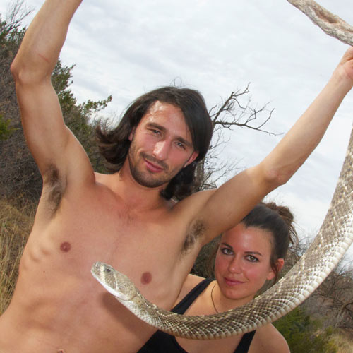 Andrew Ucles and Laura Zerra with a Rattle Snake