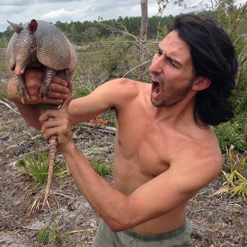 Andrew Ucles with a Armadillo