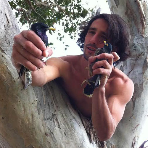 Andrew Ucles with Birds
